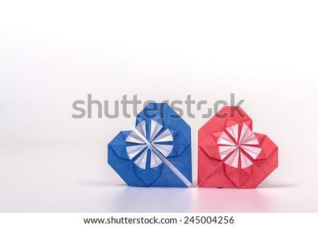 isolated origami hearts - stock photo