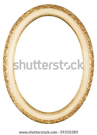 isolated oval frame with clipping path - stock photo