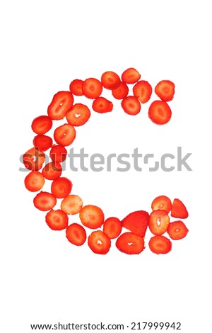 isolated over white strawberry letter part of alphabet set - stock photo