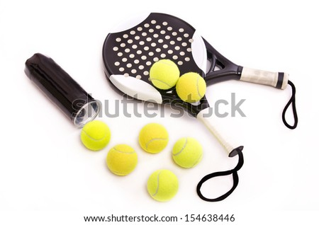 Isolated paddle tennis objects on white background - stock photo