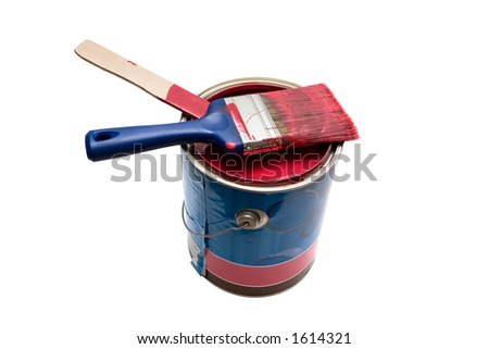 Isolated paint can and brush - stock photo
