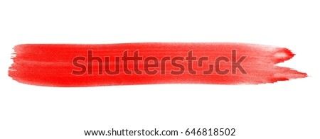 Isolated painted brush stripe with red Ink