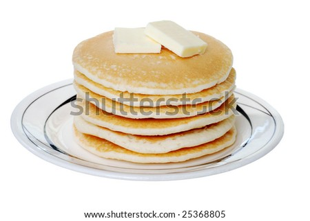 Isolated pancakes with butter