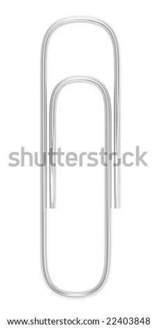 Isolated paper clip with no shadow - stock photo