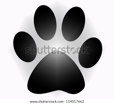 isolated paw print on whith background - stock photo