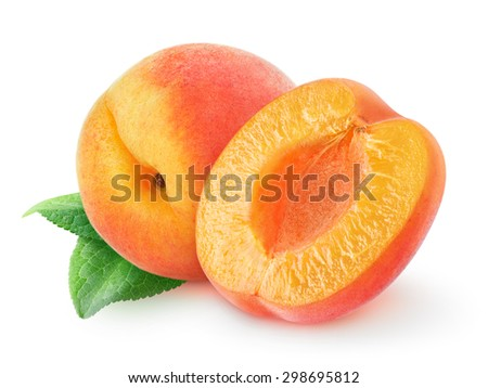 Isolated peach or apricot. One and a half peach fruits over white background with clipping path - stock photo
