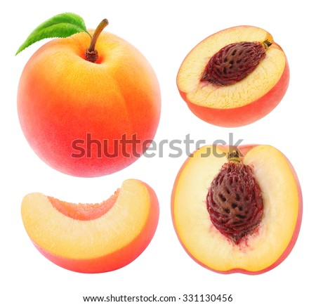 Isolated peaches. Collection of whole and cut peach fruits isolated on white background with clipping path - stock photo