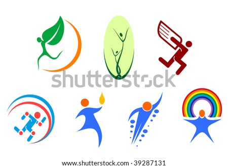 Isolated people signs - for emblems or logo template. Vector version also available - stock photo