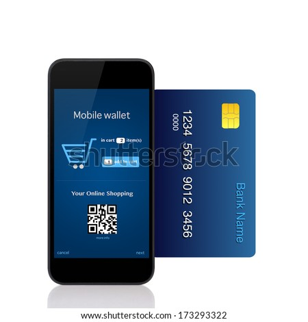 Isolated phone makes online purchase with credit card - stock photo