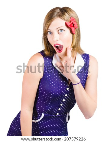 Isolated photo of a beautiful girl expressing shock with wide open mouth, pinup make-up and hairstyle on white - stock photo