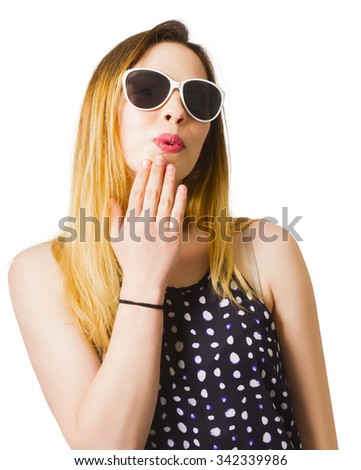 Isolated photo of an excited young blonde pinup girl with an expression of surprise wearing sunglasses and retro fashion. Taken-back pin-ups - stock photo