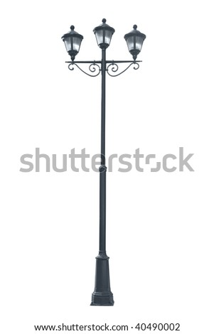 Isolated photo of an old street lamppost - stock photo