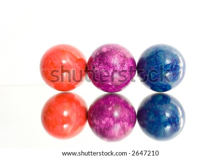 isolated photo of colorful easter eggs. reflections