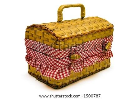 Isolated picnic basket - stock photo