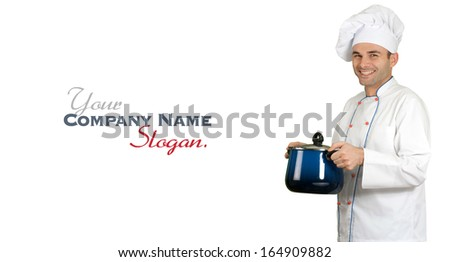 Isolated picture of an smiling restaurant chef holding a casserole  - stock photo