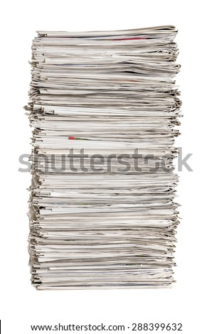 Isolated pile of newspapers on a white background - stock photo