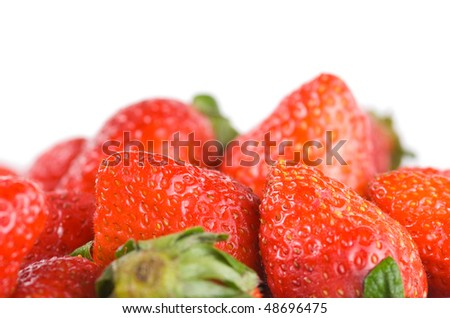 Isolated pile strawberry with white background, sweet fruit.