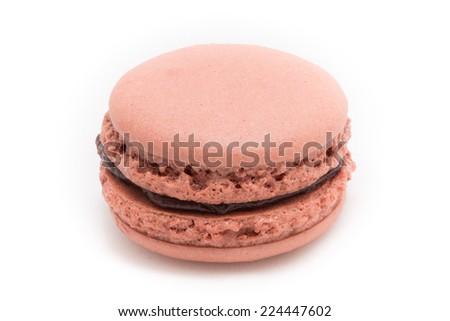 Isolated Pink Macaron - stock photo