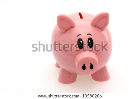 Isolated Pink Piggy Bank - stock photo