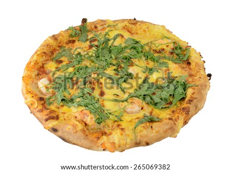 isolated pizza on white background - stock photo