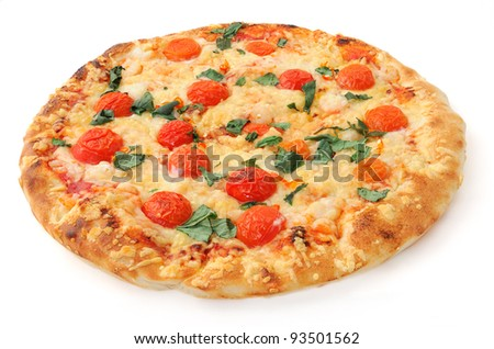 isolated pizza on white background, isometric view - stock photo