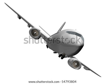 Isolated plane hiding wheels - stock photo