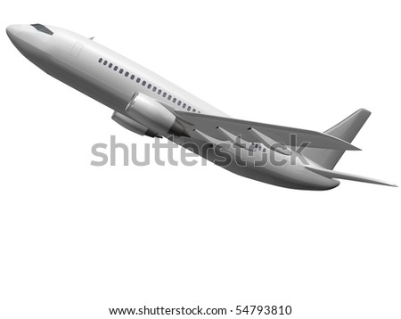 Isolated plane taking off - stock photo