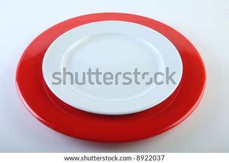 isolated plate red on white - stock photo