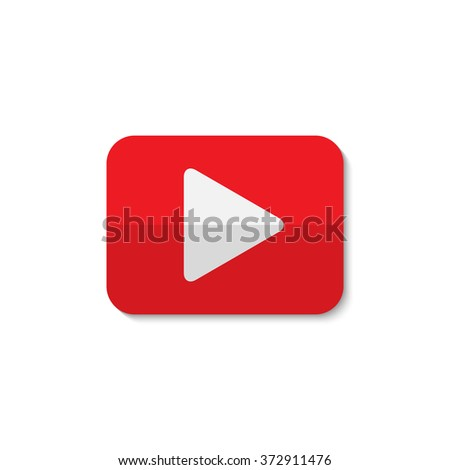 Isolated play sign. Red and white digital element. Designed media button. Audio video player digital symbol. Rectangular app logo. - stock photo
