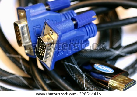 isolated plug the video cable - stock photo