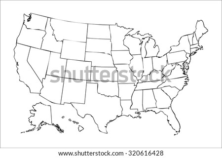 Isolated Political Usa Map Of United States Of America With Black Outline Of 50 Country Frontier