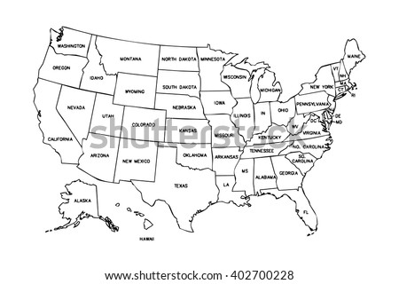 Isolated Political Usa Map United States Stock Illustration - Black and white usa map