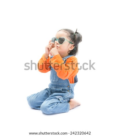 Isolated portrait asian baby girl on the white background