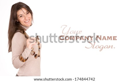 Isolated portrait of a cute young woman holding a blank message  - stock photo
