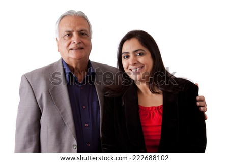 Isolated portrait of a east indian father and his daughter