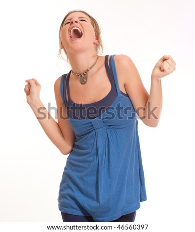 Isolated portrait of a extremely happy young girl - stock photo