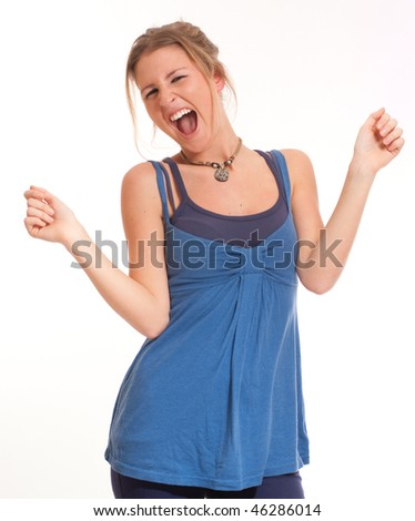 Isolated portrait of a extremely pleased young girl - stock photo