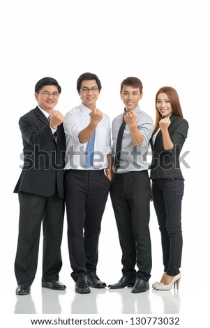 Isolated portrait of a group of cheering businessmen