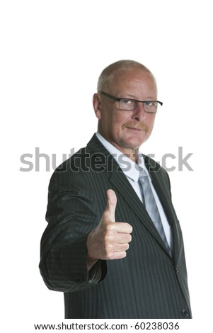 "Isolated portrait of a senior businessman, giving the ""Thumbs up!"" sign."