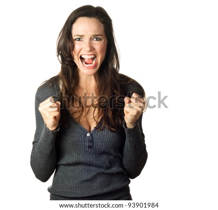 Isolated portrait of a very angry, frustrated and upset young woman. - stock photo