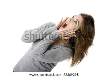 Isolated portrait of a young and beautiful surprised woman - stock photo