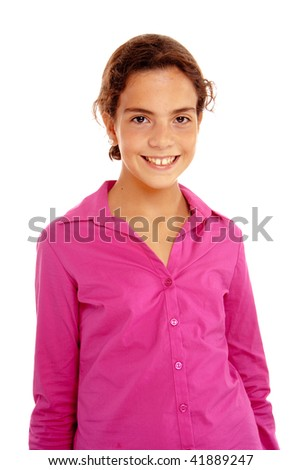 Isolated portrait of a young girl in a pink shirt - stock photo