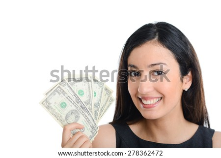 isolated portrait of beautiful and successful young business woman holding dollar bills - stock photo