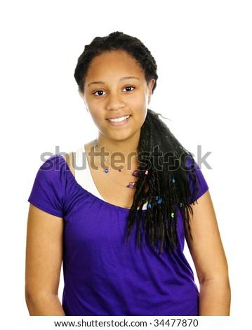 Isolated portrait of beautiful black teenage girl - stock photo