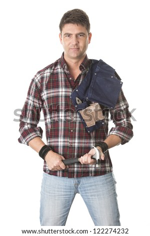 Isolated portrait of carpenter holding hammer and tool belt