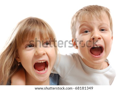 isolated portrait of crazy shouting kids