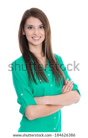Isolated portrait of happy smiling trainee with crossed arms. - stock photo