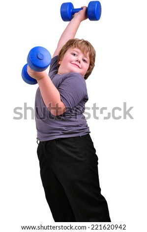 Isolated portrait of kid exercising with dumbbells. Childhood, sports, strength, active lifestyle concept - stock photo