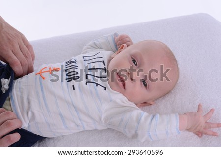 isolated portrait of young happy smiling baby on a white background - stock photo