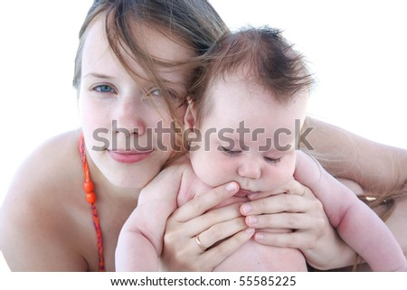 isolated portrait of young mother and baby - stock photo